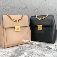 Michael Kors Mk Women Leather Mk Metal Buckle Backpack Handbag Khaki/black