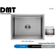Stainless Steel Nano Kitchen Sink, Handmade, Undermount, Single Bowl, 304 Sinki Dapur, Itto/Rubine/HCE