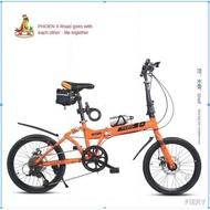 Phoenix folding bike 20 inch men s and women one-wheeled double shock-absorbing adult ultra-light portable.