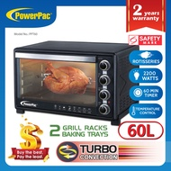 PowerPac 60L Electric Oven with2 sets of baking tray and grill / rotisserie and Convection function (PPT60)