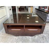 香榭二手家具*胡桃木雙面3.5尺 造型大茶几(附玻璃)抽屜桌-茶几桌-矮桌-泡茶桌-和室桌-客廳桌-沙發桌-置物桌-餐桌