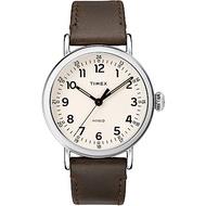 TIMEX 天美時 復刻系列 簡約復古手錶-卡其黃x咖啡色錶帶/40mm
