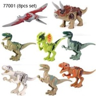 8pcs set Dinosaur RexTyrannosaurus Jurassic World Park Minifigures Building LEGO