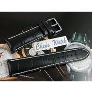 【Chens】『特厚耐用』百年靈 BREITLING IWC 漢彌頓 代用 20mm 22mm 24mm 粗白線鱷魚紋牛皮錶帶