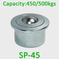 2pcs SP-45 Heavy Steel Ball transfer หน่วย 500 กิโลกรัม SP45 Euro type สายพานลำเลียง soild machined ล้อ transfer ลูกกลิ้ง