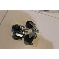 『殺肉貨』NO.413 1.5吋 滑輪 滾輪 固定輪*6+煞車輪*6 10mm螺紋 PP輪 1標12入免運
