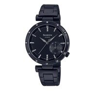5Cgo CASIO SHEEN Simple Black IP Ion Crystal Ladies Watch HE-4051BD-1A Taiwan卡西欧