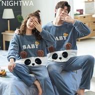 NIGHTWA Winter Couples Pajamas Set Cute Animal Flannel  For Women pijamas Men Plush Sleepwear