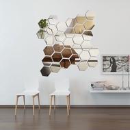 Hexagonal mirror, glass display, hexagon, wall sticker