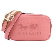 【COACH】壓印大馬車皮革白駝織帶斜背/腰包(桃粉/mini)