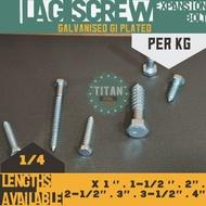 ❉✻  Per KG - 1 4 Lag Screw Bolts (Galvanised) aka Expansion Bolt