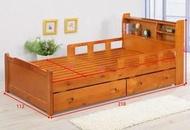 【風禾家具】NC-A4-35C◎柚木色3.5尺護欄單人床【台中6700送到家】床架 兒童床 實木傢俱 收納抽屜 置物架