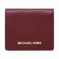MICHAEL KORS MK 酒紅色 荔枝紋真皮 短夾 錢包 零錢包 皮夾~M19558