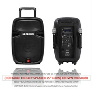(Portable Active Speaker) Crown Pro-5008R+ / 480watts / Trolley Wheel with Handle / Dual Wireless Mic / Rechargeable Battery / 12Volts / 220V / Usb SD Bluetooth FM Aux (PRO5008R+)