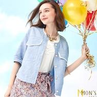 【MON'S】色織亞麻涼感圓領牛仔外套