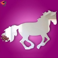 3D Galloping Horse DIY Mirror Wall Clock Wall Sticker Room Decoration Decals