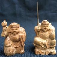 印度老山檀香 惠比壽 大黑天 財神 福神 木雕