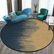 「理想家」北歐時尚簡約抽象漸變深藍金黃色圓形臥室客廳地毯地墊