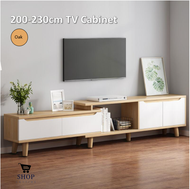Modern Nordic Style TV Cabinet Extendable with drawer design (Oak/White) | Kabinet TV