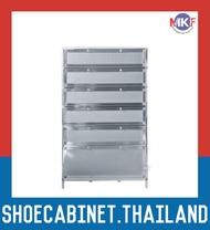 6 ชั้น สีเงิน ตู้รองเท้าอลูมิเนียม กันน้ำกันปลวก ตู้รองเท้า ชั้นวางรองเท้า กล่องใส่รองเท้า ตู้อเนกประสงค์ ALUMINIUM SHOE CABINET