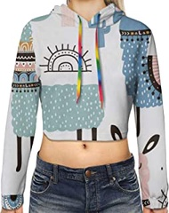 Tropical Cactus Animal Lama Print Hoodies,Women'S Casual Long Sleeve Pullover Crop Tops Sweatshirt