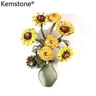 Kemstone สร้างสรรค์ดอกทานตะวันทองแดงดอกไม้สีเหลืองเข็มกลัด Pin สำหรับของขวัญเครื่องประดับสตรี