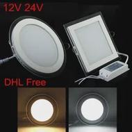 10 ชิ้น/ล็อต, จัดส่งฟรี, AC/DC 12 V 24 V LED แผง 6 W 9 W 12 W 18 W 24 W led โคมไฟ LED light Panel LED กับไดร์เวอร์ LED