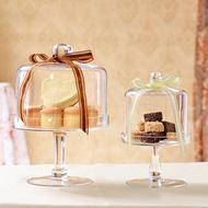 歐式玻璃蛋糕盤透明蛋糕罩防塵罩糕點盤高腳創意家居婚慶托盤擺件WY