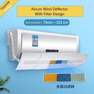 Upgrades Version Aircon Wind Deflector/WindShield With Filter Retractable 74-103CM/Flower Bracket
