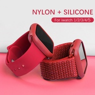 สายและเคสสำหรับ APPLE WATCH 38mm 42mm 40mm 44mm I Watch Suit nyon silicone STRAP and Case for i Watch Series 5/4/3/2/1