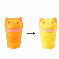 Temperature Sensitive Color Changing Squishy Cat Coffee Cup Slow Rising Toy With Packing