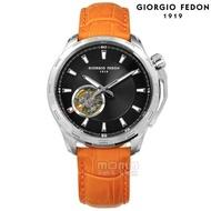 【GIORGIO FEDON 1919】自動兼手動上鍊 精工機芯 機械錶 真皮手錶 黑x橘 42mm(GFCG001)