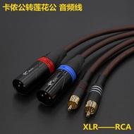 發燒卡儂公母對蓮花公音響線XLR平衡轉RCA卡儂蓮花功放音響信號線
