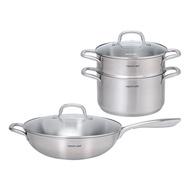 NEOFLAM|不銹鋼316鍋具組合 (32cm炒鍋+湯鍋24cm+蒸籠)