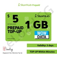 STARHUB Prepaid $5 DATA Plans eTop-Up - 24 Hours Instant Delivery!