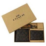 COACH 男款8卡短夾附鑰匙圈活動證件夾禮盒(C LOGO-深咖)