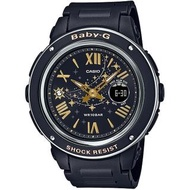【CASIO 卡西歐】BABY-G 耀眼流星雙顯計時錶/神秘黑(BGA-150ST-1A)