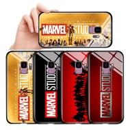สำหรับSamsung Galaxy A6 A8 Plus A7 A9 2018 A8S A9 Pro 2019 Classic Marvel Studioโลโก้Glossy Case Temperedกระจกนิรภัยด้านหลังฝาครอบ