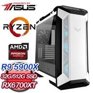 華碩系列【ANGEL】AMD R9 5900X十二核 RX6700XT 電競電腦(32G/512G SSD)