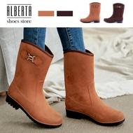 【Alberta】雨靴-MIT台灣製防水麂皮絨面 舒適好穿3cm輕量化防滑膠底雨靴 雨鞋 中筒靴
