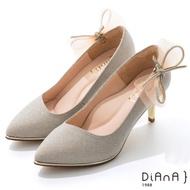 DIANA 6.5cm 法式鑽石紋水鑽蝴蝶結夾飾婚鞋-璀璨閃耀-香繽粉