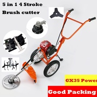 5 in 1 Multi tool Brush cutter 4 stroke GX35 Engine Petrol strimmer Grass cutter Mini tiller Grass CULTIVATOR
