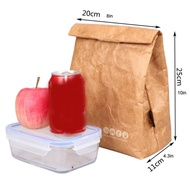 Foldable kraft paper lunch box reusable leak-proof food large-capacity lunch bag waterproof thermal insulation paper aluminum