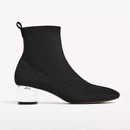 2017 new Zara women s shoes transparent and elastic Block Heel sock Ankle Boots