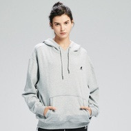 【KANGOL】Oversize落肩設計印花連帽上衣/帽T-女-麻灰