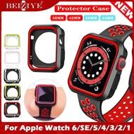 กรณี Sport Silicone Frame Rubber Protector Soft Case For apple watch 38MM 40MM 42MM 44MM Silicone Cover For Apple Watch Series 6 5 4 3 2 1 SE Case เคสซิลิโคนป้องกันกีฬา