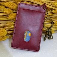 【1-0257】輕便款鑰匙圈悠遊卡套 市民卡套 集點卡套 VIP 証件 公車卡套 三卡位-酒紅色