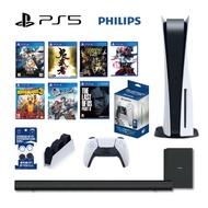 PS5 光碟版 主機+原廠座充+手把水晶殼+PS4遊戲7片【GAME休閒館】