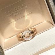 Bulgari 2021 Roman series classic disc white diamond alphabet ring 925 sterling silver worker inlaid