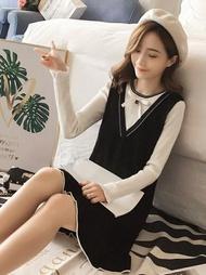 假兩件連身裙女韓版顯瘦蝴蝶結木耳邊長袖打底針織裙『名購居家』